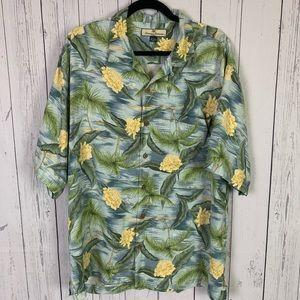 Tommy Bahama | 100% silk tropical print shirt